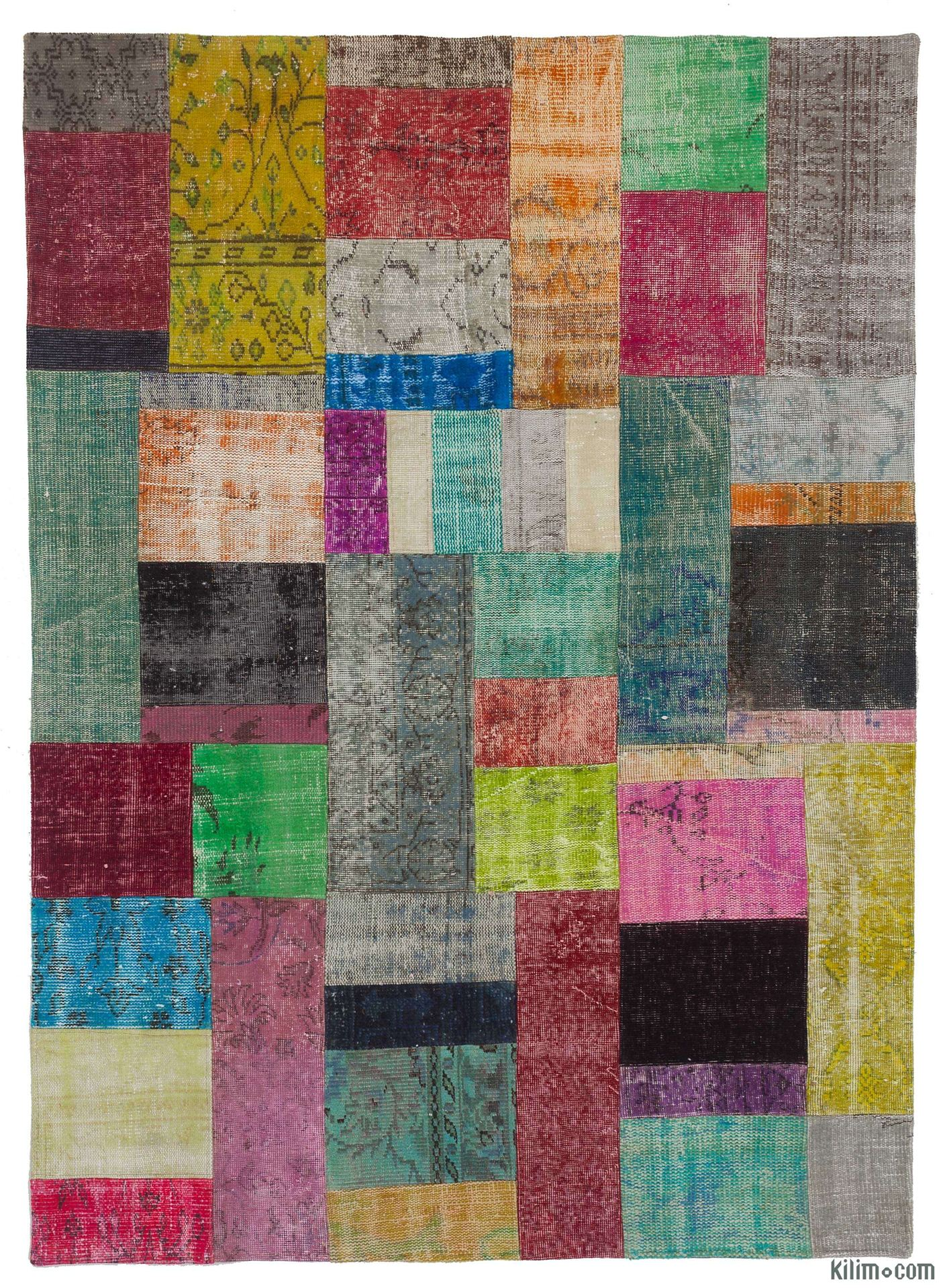 k0010665 - over-dyed turkish patchwork rug. overdyed vintage rugs