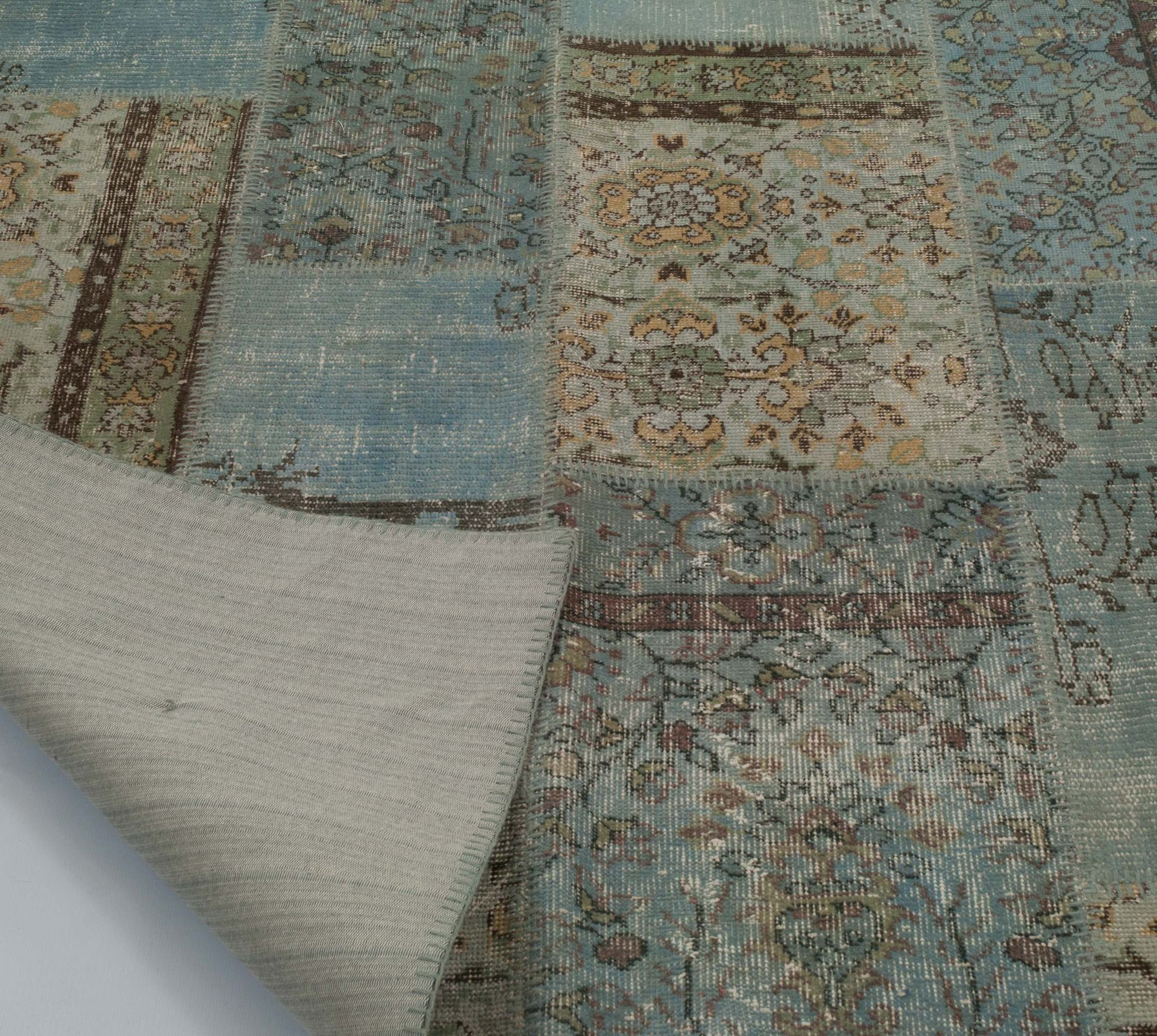 k0006126 - over-dyed turkish patchwork rug. overdyed vintage rugs