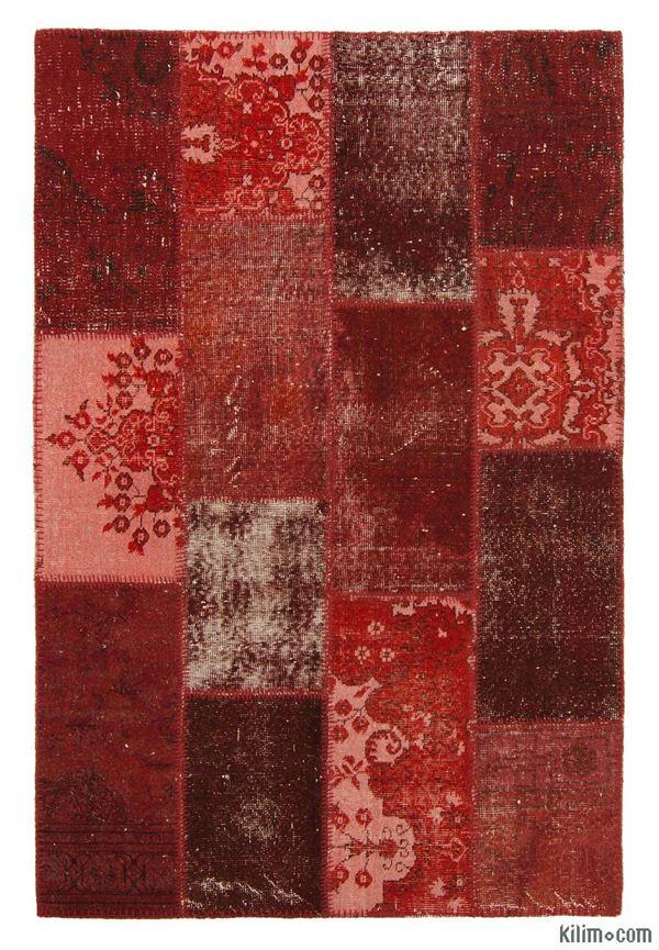 K0006130 Over Dyed Turkish Patchwork Rug Overdyed Vintage
